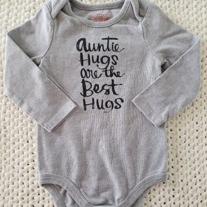 "Baby girl gray long sleeve ""auntie"" onesie 12M"